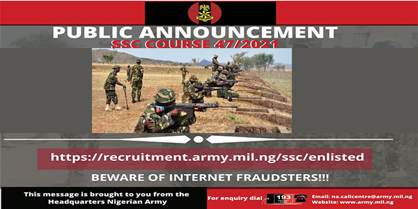 Nigerian Army Shortlisted Successful Candidates SSC 47 / 2021